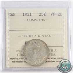 1921 Canada 25-cent ICCS Certified VF-20