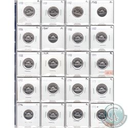 1980-1998 Canada 5-cent Collection in Proof Like Condition. 20pcs.