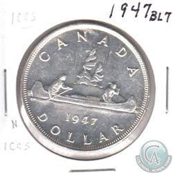 1947 Canada BLUNT 7 Silver Dollar MS-60