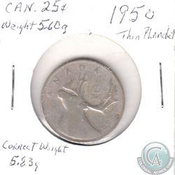 THIN PLANCHET ERROR 1950 Canada 25-cent