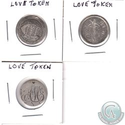 LOVE Token lot. You will receive 2 struck on Canada Silver 10-cent coins, and one struck on a Silver