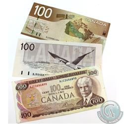 Run of Three $100.00 Notes from the Bank of Canada spaning from 1975 to 2004.  Included is a 1975, 1