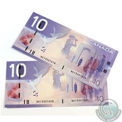 2 x 2005 $10.00 Insert Replacement Notes, BEY(3.460M-3.580M), with Consecutive Serial Numbers in UNC