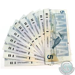 10 x 1986 $5.00 Notes with Various Signature Combinations in Average Circulated Condition. 10 pcs.
