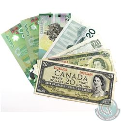 Seven Different Series of $20.00 Note ranging from 1954 to 2015.  Included is a 1954, 1969, 1979, 19