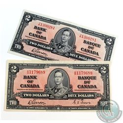 Pair of 1937 $2.00 Notes with Gordon-Towers Signatures in High Grade. Notes have a few pinholes. 2 p