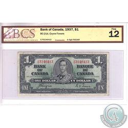 1937 RADAR $1.00 Note, BCS Certified F-12.