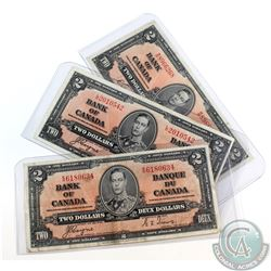 Group Lot of Three 1937 $2.00 Notes in VF-EF Condition.  One piece has holes and the other two have