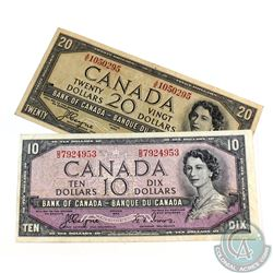 Pair of 1954 Devil's Face Banknotes in Very Fine Condition.  Included is a $10 and a $20.  2 pcs.