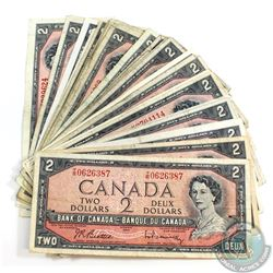 25 x 1954 $2.00 Notes in Average Circulated Condition.  25 pcs.