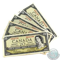 5 x 1954 $20.00 Notes in Average Circulated Condition.  5 pcs.