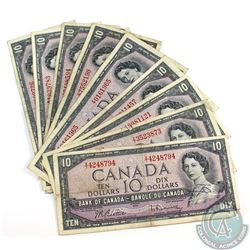 10 x 1954 $10.00 Notes in average circualted Condition.  10 pcs.