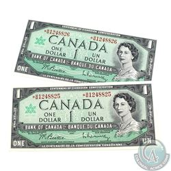 2 x 1967 Replacement $1.00 Notes with *B/M Prefix in UNC Condition.  2 pcs.
