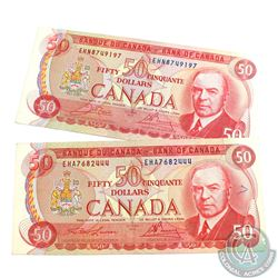 Complete Signature Type Set of the 1975 $50.00 Note.  Included are two 1975 $50.00 Notes, one of eac