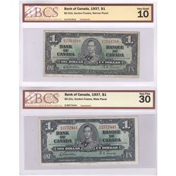 BC-21b & BC-21c/ 1937 Bank of Canada $1, Gordon-Towers.  Narrow Pannel & Wide Pannel Varieties.  S/N