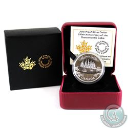 2016 Canada Transatlantic Cable Anniversary Proof Silver Dollar (Tax Exempt)
