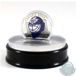 2009 Canada $20 Toronto Maple Leafs NHL Goalie Mask & Acrylic Stand Sterling Silver.