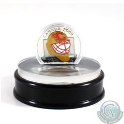 2009 Canada $20 Calgary Flames NHL Goalie Mask Coin & Acrylic Stand Sterling Silver.