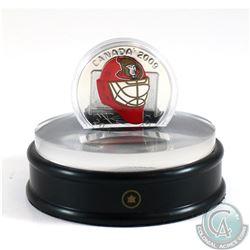 2009 Canada $20 Ottawa Senators NHL Goalie Mask & Acrylic Stand Sterling Silver.
