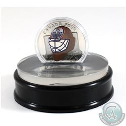 2009 Canada $20 Edmonton Oilers NHL Goalie Mask & Acrylic Stand Sterling Silver.