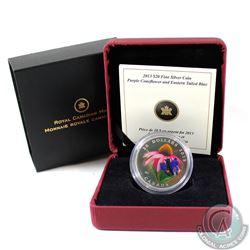 2013 Canada $20 Purple Coneflower & Venetian Glass Eastern Tailed Blue Butterfly Fine Silver Coin (T