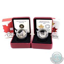 2013 Canada $10 Niagara Falls & 2014 Canada $10 Skiing Canada's Slopes Fine Silver Coins (Tax Exempt