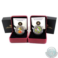 2012 Canada 25-cent Rose-Breasted Grosbeak & Evening Grosbeak Coloured Coins. 2pcs.