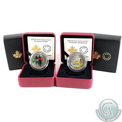 2014 Canada 25-cent Eastern Meadowlark & Scarlet Tanager Coloured Coins. 2pcs.
