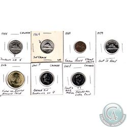 Estate Lot of Mixed Canada Coins with Minor Errors. You will receive a 1955 5-cent with Doubling on