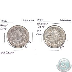 Pair of 1952 Canada 50-cent with Die Cracks. You will receive the 1952 Narrow date with Die Crack, a
