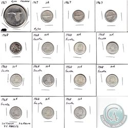 Estate Lot of Canada Silver Coins. You will receive a 1967 Dollar, 3x 1967 10-cent, and 11x 1968 10-