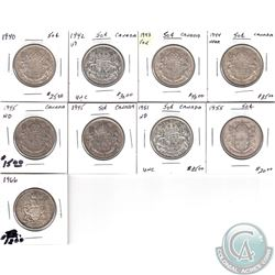 1940-1966 Canada 50-cent Estate Collection. You will receive the following dates: 1940, 1941 WD, 194