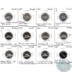 Estate lot of Mixed Canada 5-cent Coins dated between 1949 to 1967 with Minor Errors. 12pcs.