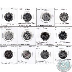 Estate lot of Mixed Canada 25-cent Coins dated between 1973 to 2008 with Minor Errors.12pcs.