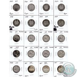 Estate lot 1903-1967 Canada Silver 25-cent Collection. You will receive the following dates: 1903, 1
