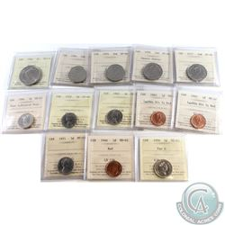 Estate Lot of Mixed Canada ICCS Certified Coins dated 1946 to 1986. You will receive the following: