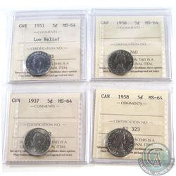 1937-1958 Canada 5-cent ICCS Certified MS-64. You will receive the following dates: 1937, 1951 Low R