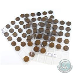 Estate Lot of Mixed Canada 1-cent coins dated 1928 to 1967. You will receive a total of 84 coins.