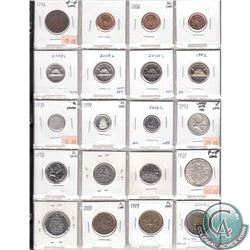 Mixed Page of 20x 1914-2012 Canadian Coinage. You will receive 4x 1-cent, 4x 5-cent, 3x 10-cent, 4x