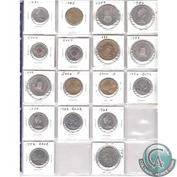 Mixed Page of 17x Miscellaneous Coins - Canada 3x 25-cent, 5x 50-cent, 2x Nickel $1, 2x USA $1, 1985