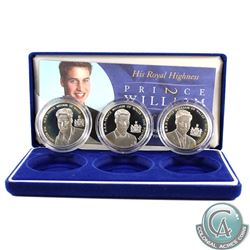 2003 His Royal Highness Prince William of Wales 21st Birthday Commemorative 5 Pound 3-Coin Sterling