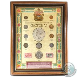 1936-1952 Selected Canadian Coinage of George VI 10-coin Set with Two 3-cent Stamps in Wooden Frame.