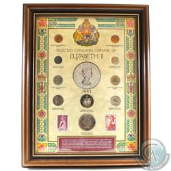Selected Canadian Coinage of Elizabeth II 10-coin Set with Two 5-cent Stamps in Wooden Frame. This S