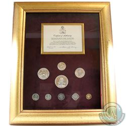 1972 Bahama Islands Coin-of-the-Realm 9-coin Proof Set Minted by the Franklin Mint in a Large Golden