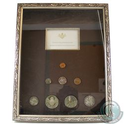 Cayman Islands Proof 8-coin Set inside Large Metal Frame. This Set contains a Sterling Silver 50-cen