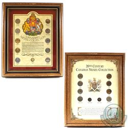Pair of Canada Nickel Coin Sets in Wooden Frames Produced by Heritage Collectables. You will receive