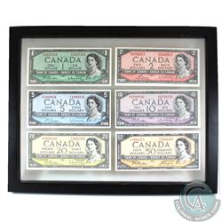 Canada $1, $2, $5, $10, $20 & $50 Banknotes from the 1954 Series in Black Frame.