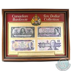 1937, 1954, 1971 & 1989 Canada $10 Banknote Issues in Wooden Frame Produced by Heritage Collectables