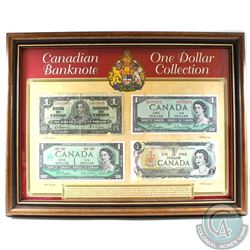 1937, 1954, 1967 & 1973 Canada $1 Banknote Issues in Wooden Frame Produced by Heritage Collectables.