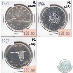 3x Canada Silver $1 Proof-Like 1961, 1964 & 1967 (toned or scratched). 3pcs